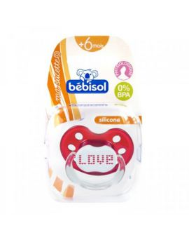 Bébisol Sucette Physiologique Silicone Rouge Love + 6 mois